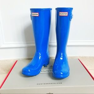 Hunter Original Gloss Rain Boots in Bucket Blue